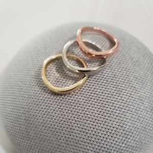 Jewelry - 3Pcs/Set Rose/Gold/Silver Rings Stainless Steel
